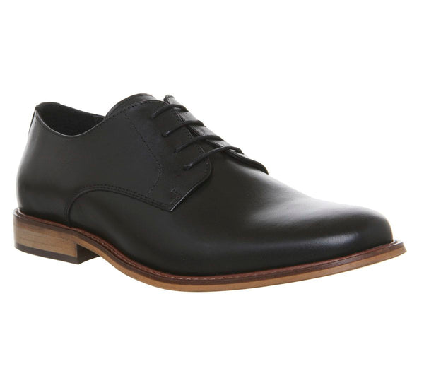 Mens Ask the Missus Friendly Plain Toe Shoes Black Leather