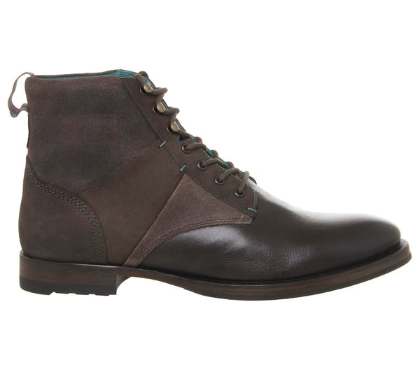 Mens Ted Baker Reubal Lace Up Boots Brown Leather