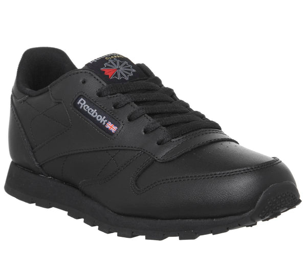 Womens Reebok Classic Leather Gs Black Mono