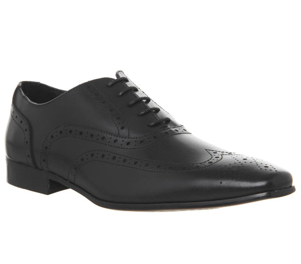 Mens Office Glide Brogue Black Leather