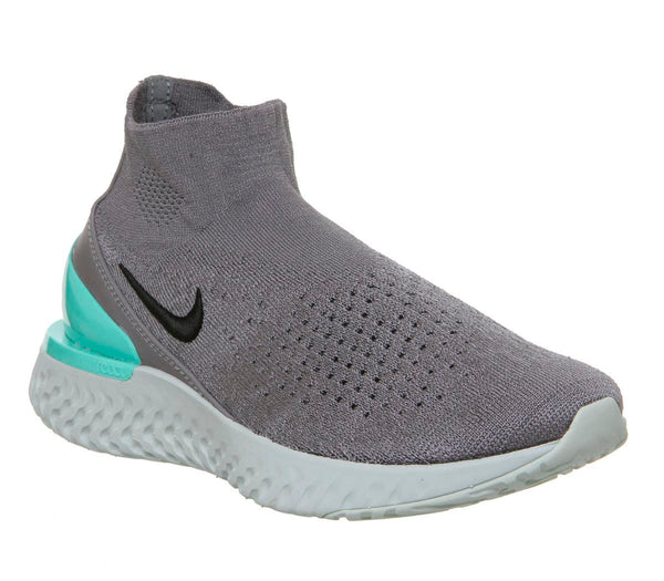 Mens Nike Rise React Flyknit Gunsmoke Dark Stucco Aurora Green