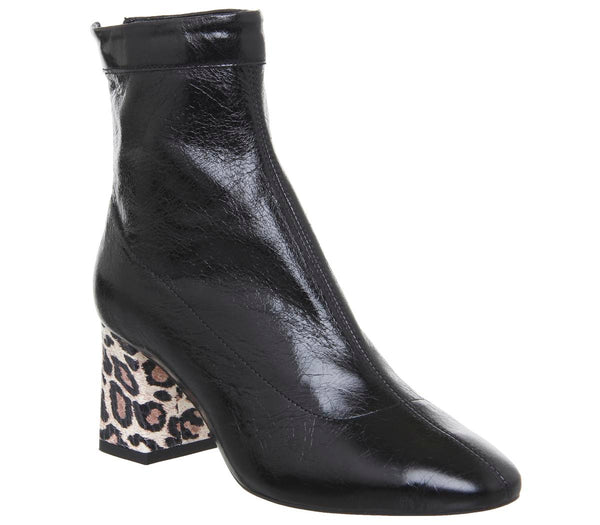 Womens Office All Day Back Zip Block Heel Boot Black Leather With Snake Leopard Heel