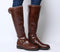 Womens Office Keller Casual Fur Knee Boots Brown Leather