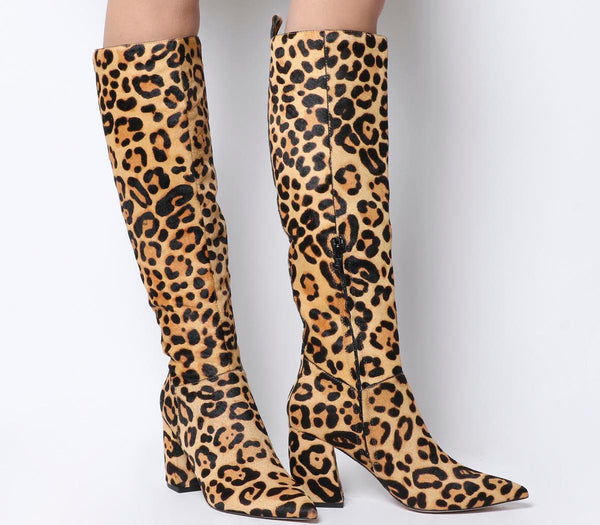 Womens Office Kiki Pointed Block Heel Knee Boot Leopard Print Cow Hair Uk Size 4
