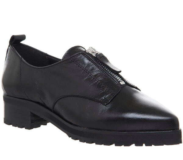 Womens Office Foster Zip Front Cleated Shoe Black Leather