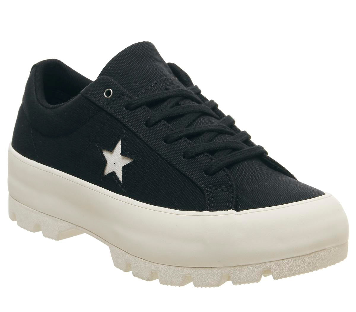 Womens Converse One Star Lugged Ox Black Black Egret