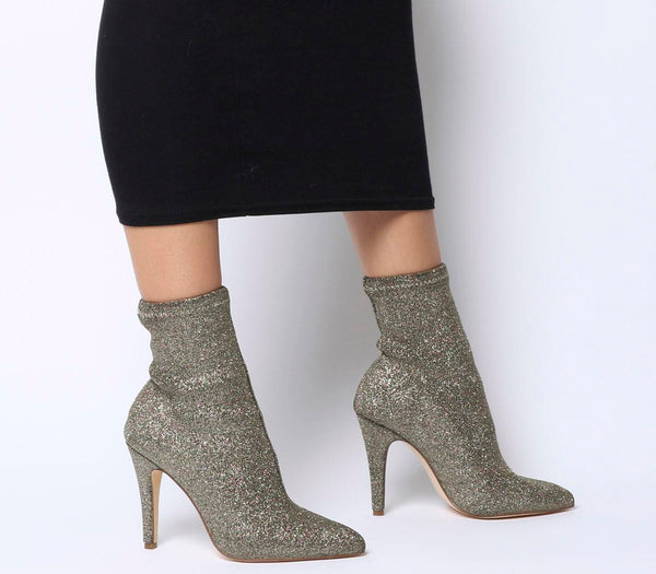 Womens Office Almighty Pointed Sock Boot Multi Glitter