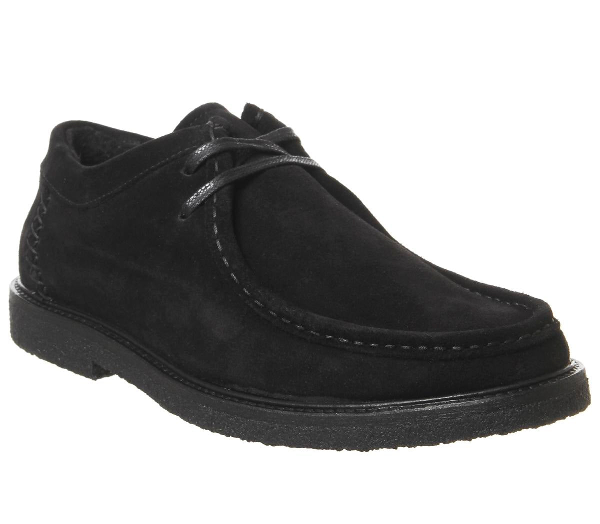Mens Office Iberian Moccasin Black Suede