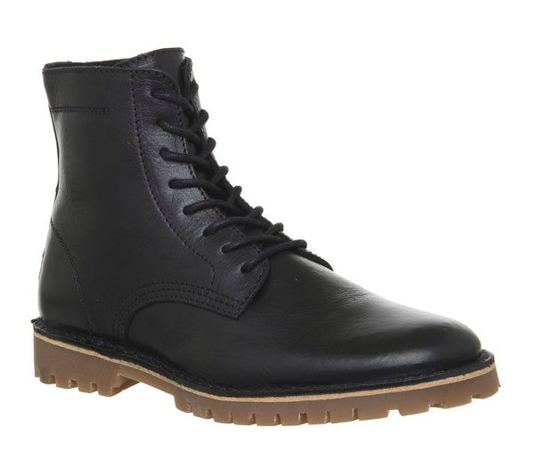 Mens Office Impala Lace Boots Black Leather