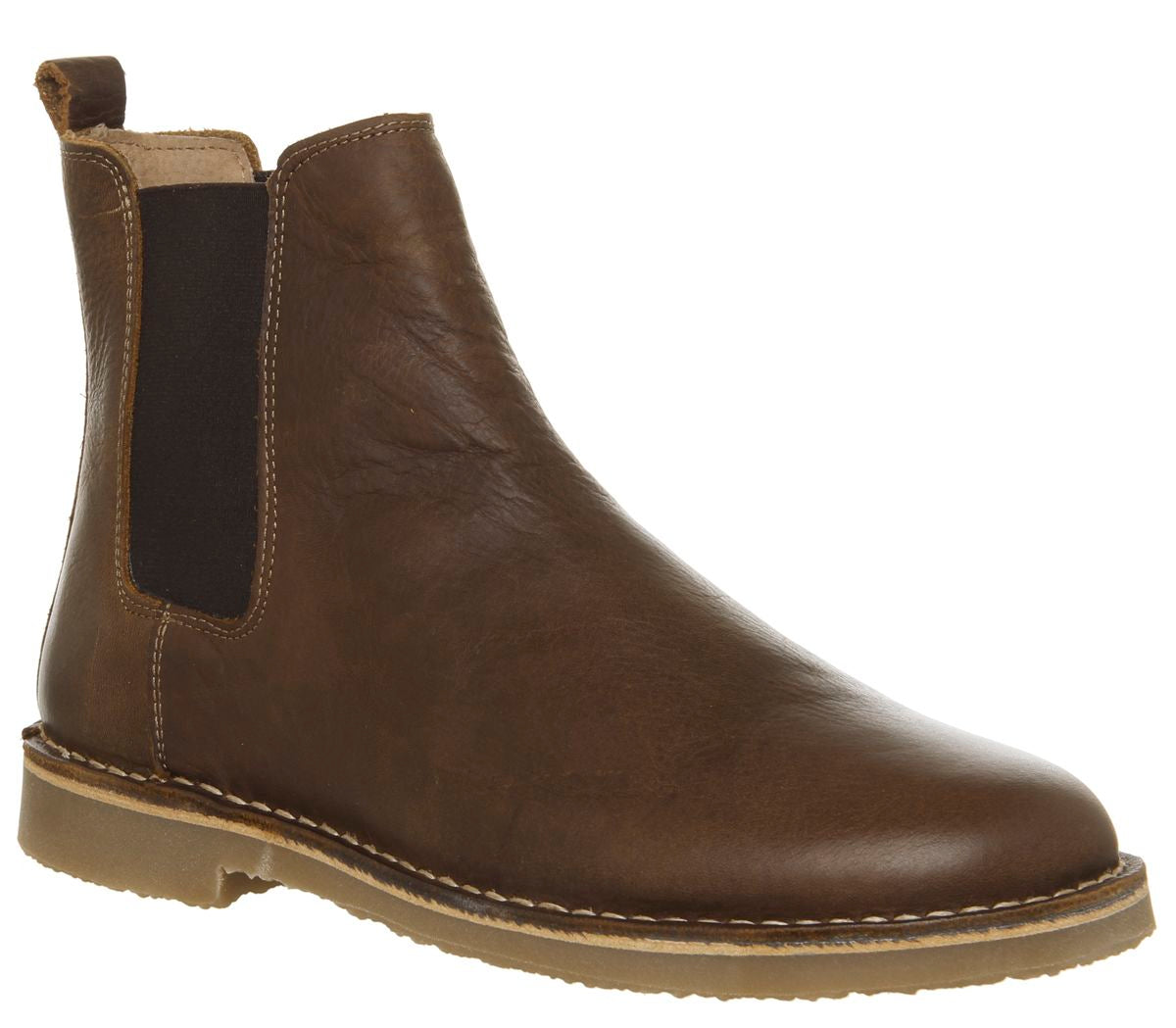 Mens Office Inferno Chelsea Boots Dark Tan Leather
