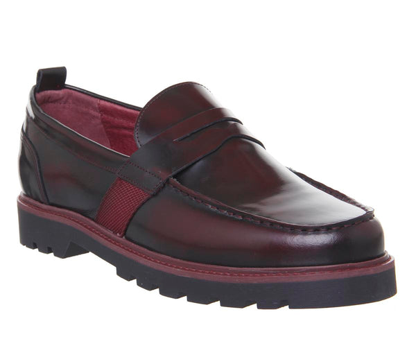 Mens Office Inspiration Loafer Dark Red Leather Uk Size 6