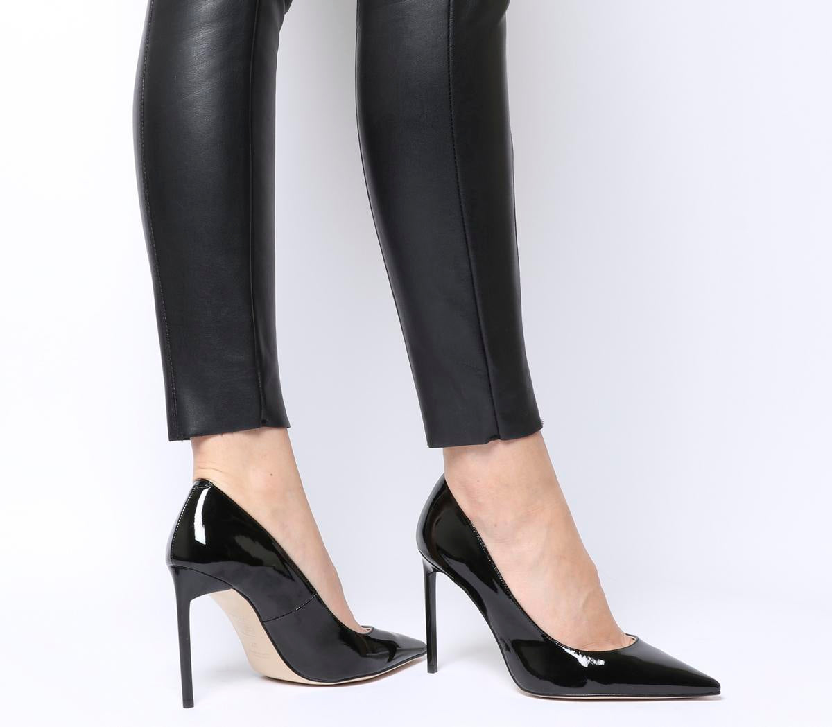 Womens Office Hottie Point Court Black Patent