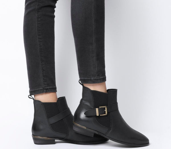 Womens Office Amble Flat Buckle Chelsea Boot Black Leather
