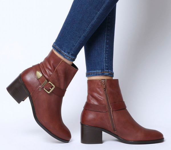 Office Admiral Buckle Strap Mid Block Boot Tan Leather
