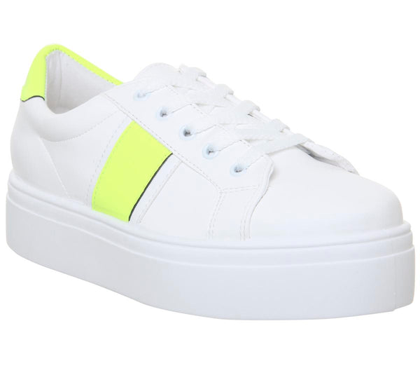 Womens Office Feature Platform Lace Up Trainer White With Neon Yellow
