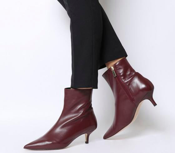 Womens Office Anastasia Kitten Heel Boot Burgundy Leather