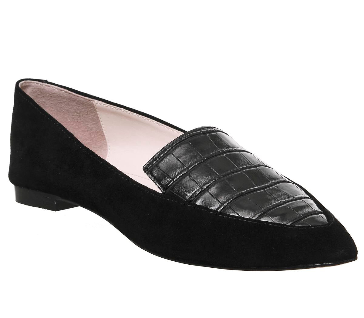 Womens Office Freddie Pointed Loafer Black Croc With Suede