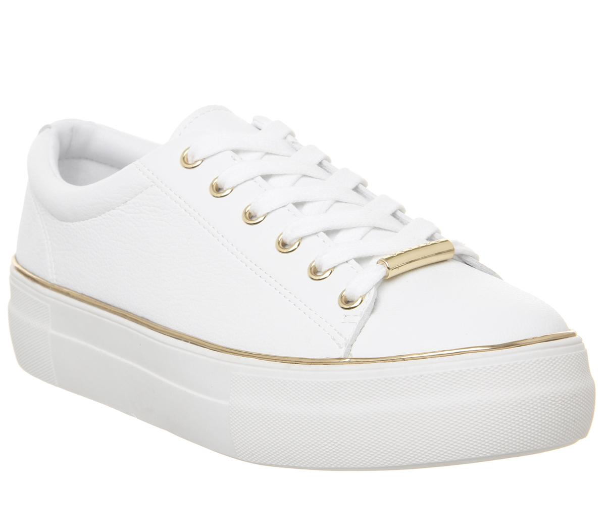 Womens Office Free Flatform Trainer White With Gold Rand