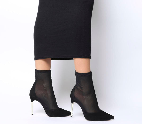 Womens Office Alight Metal Heel Sock Boot Black Mesh