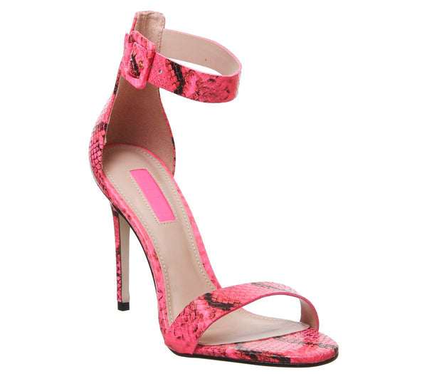 Womens Office Heart Two Part Sandal Pink Snake Leather