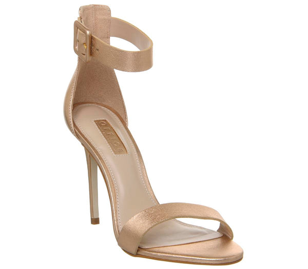 Womens Office Heart Two Part Sandal Rose Gold Leather