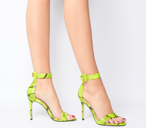 Womens Office Heart Two Part Sandals Fluro Lime Snake Leather