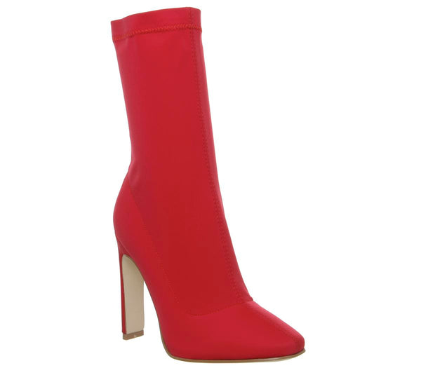 Womens Ego Cassia Elastic Heeled Boot Red