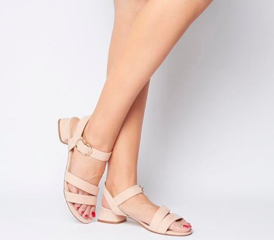 Womens Office Maria Sandal With Flared Heel Nude Uk Size 6