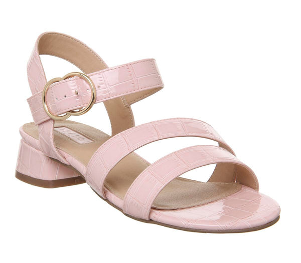 Womens Office Maria Sandal With Flared Heel Pink Croc