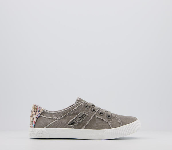 Odd sizes - Womens Blowfish Fruit Sneakers Wolf Grey Smoked Canvas UK Sizes R5/L6