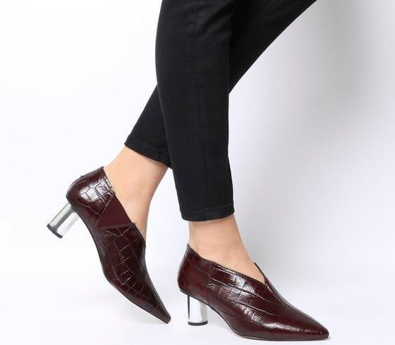Womens Office Miracle Cylindrical Heel Shoeboot Burgundy Croc Leather Silver Heel