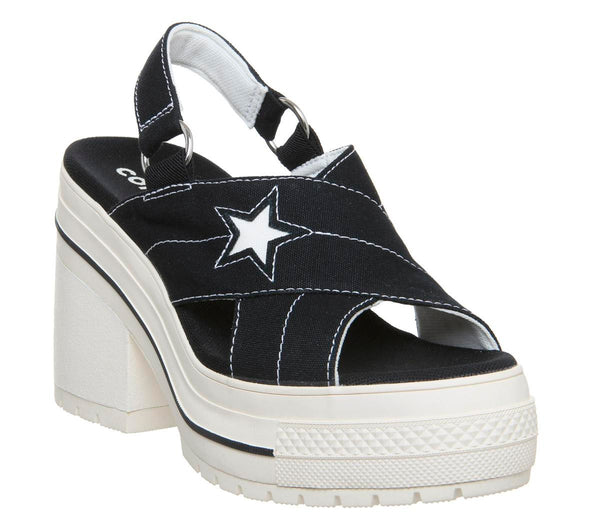 Womens Converse One Star Heel Black Egret Uk Size 6