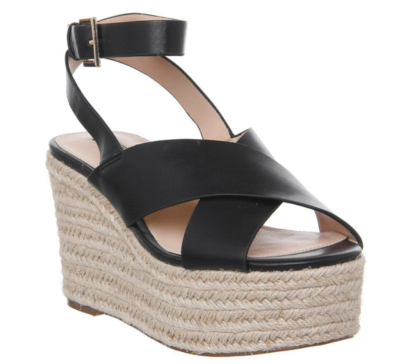 Womens Office Medal Ankle Strap Espadrille Wedge Black