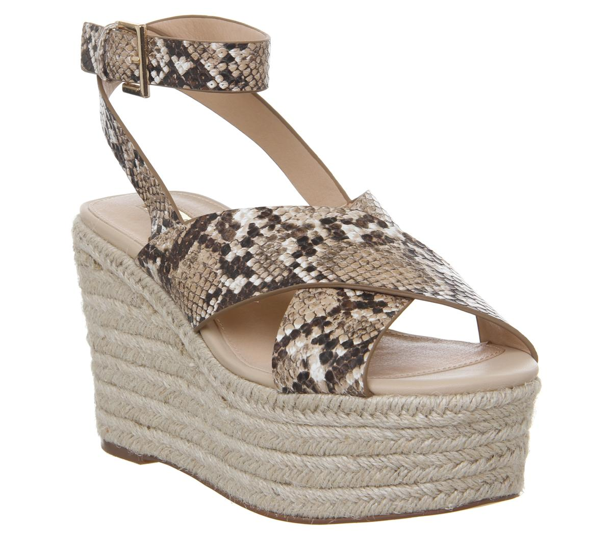 Womens Office Medal Ankle Strap Espadrille Wedge Snake