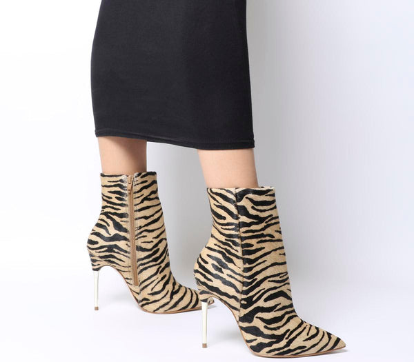 Womens Office Aspire Metal Heel Point Boot Tiger Cow Hair