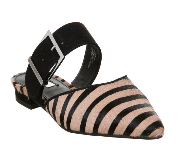 Womens Office Fabio Point Mule Black Tiger Pony