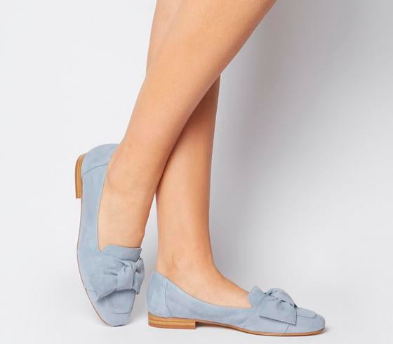 Womens Office Foal Softy Bow loafer Pale Blue Suede
