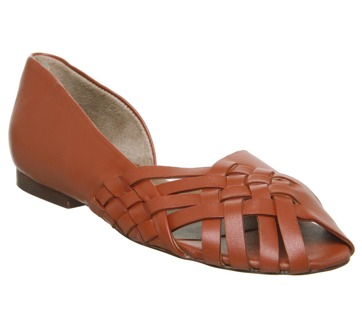 Womens Office Fall Woven Flat Red Leather