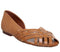 Womens Office Fall Woven Flat Tan Leather