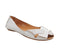 Womens Office Felt Peep Toe Shoe White Leather