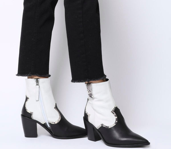 Womens Office Attacked Western Point Block Heel Black And White Leather Mix