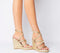 Womens Office Honeydew Glam Strappy Wedge Gold Metallic