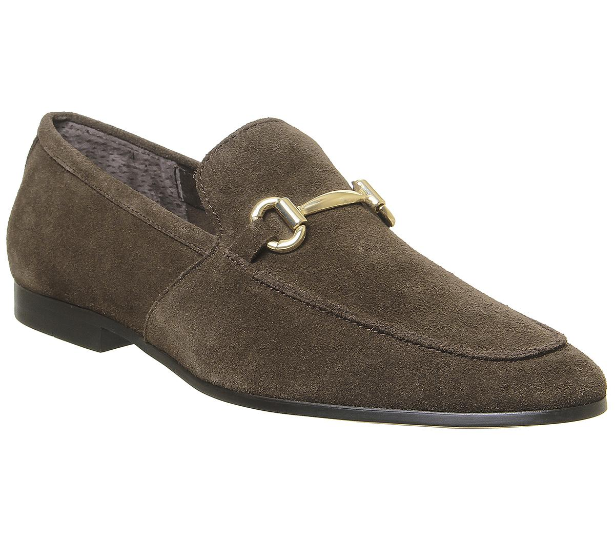 Mens Office Lemming Snaffle Loafer Brown Suede