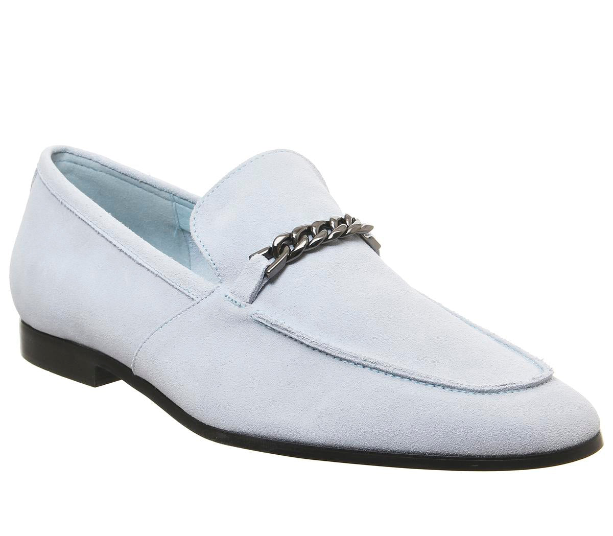 Mens Office Lion Chain Loafer Light Blue Suede