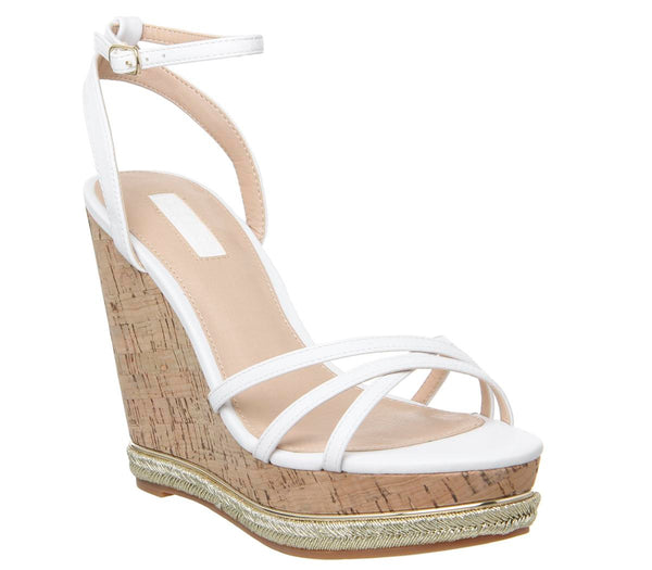 Womens Office Honcho Strappy Glam Cork Wedge White