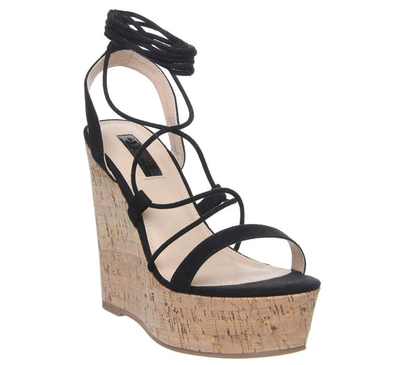 Womens Office Hula Ghillie Chunky Wedge Black With Cork