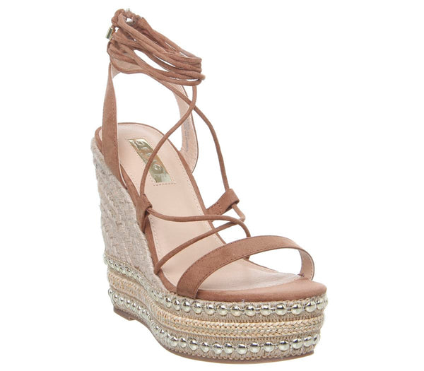 Womens Office Hula Ghillie Chunky Wedge Tan With Studs
