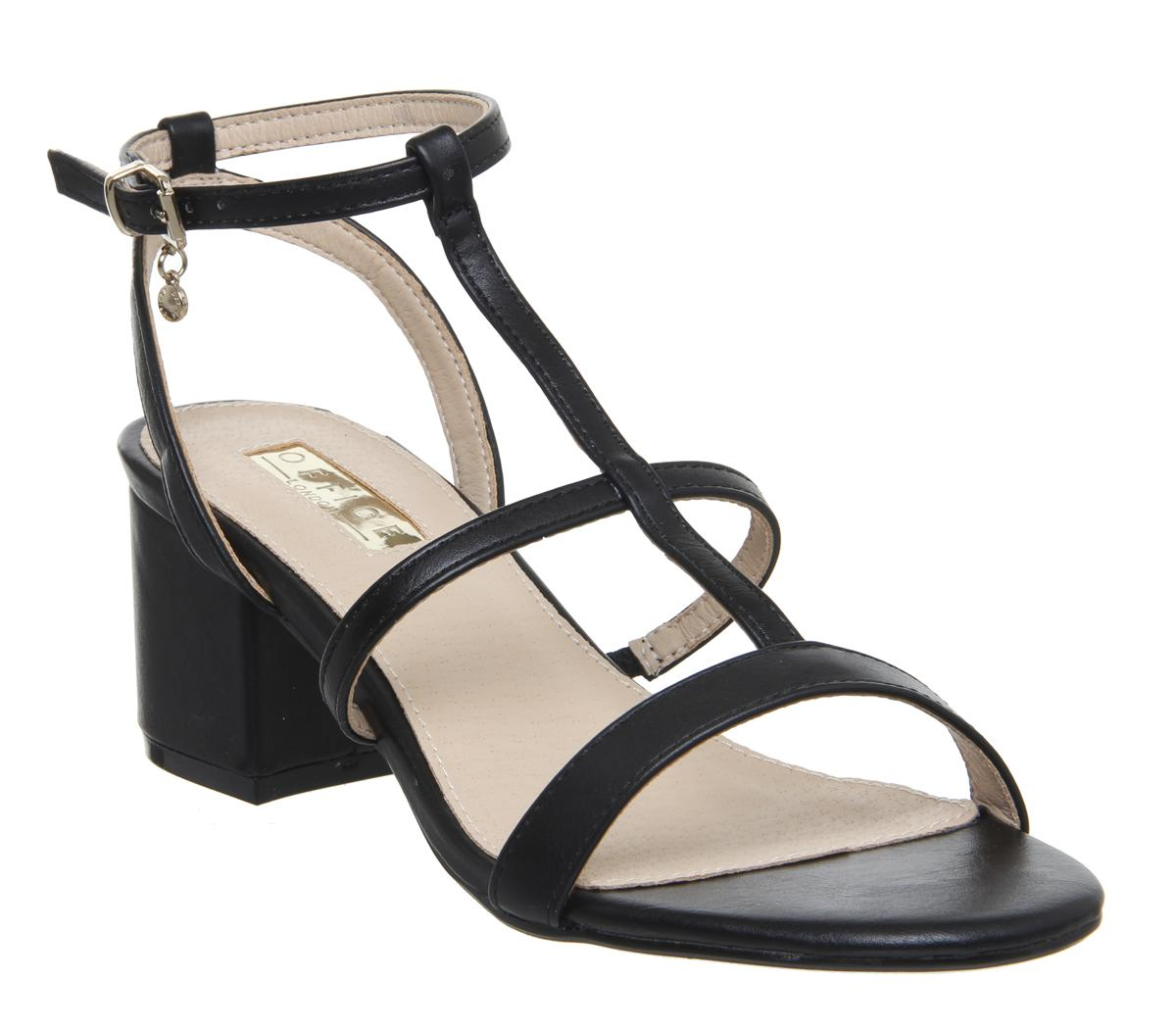 Womens Office Mississippi Caged Block Sandal Black