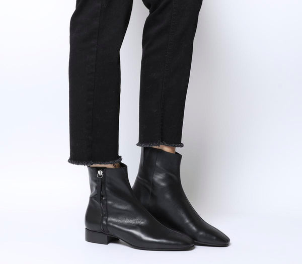 Womens Office Adore Side Zip Casual Boot Black Leather
