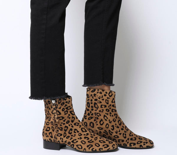 Womens Office Adore Side Zip Casual Boot Leopard Flocked Suede